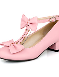 Women's Shoes Leatherette Spring / Fall Heels Casual Chunky Heel Bowknot / Others Black / Pink / Beige
