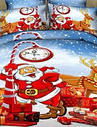 Duoma New Year New 3 D13372 Active Santa Claus Series CottonBedding FourSets