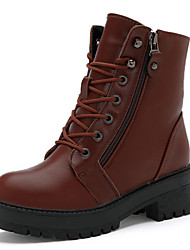 Women's Shoes Flat Heel Riding Boots / Fashion Boots / Motorcycle Boots Boots Outdoor Casual Black / Brown