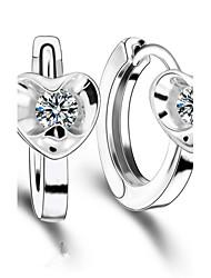 Women's Hoop Earrings Love Fashion Luxury Zircon Cubic Zirconia Silver Plated Heart Jewelry For