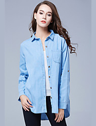 Autumn Women's Plus Size Solid Demin Simple Shirt Vintage Casual Work Button Cardigan Long Sleeve Shirt Blouse
