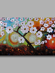 Ready to Hang Stretched Hand-Painted Oil Painting Canvas Wall Art Contempory Abstract Flowers Pink One Panel