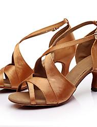 Women's GIRL'S Dance Shoes Latin / Salsa / Samba SANDALS Satin Customized Heel Black / Brown / Red
