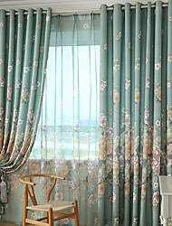 Two Panels Green Floral Print Polyester Curtains Drapes