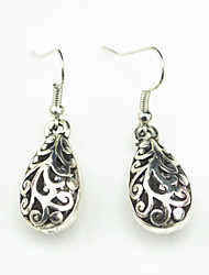 Vintage Look Antique Silver Plated Water Drop Flower Alloy Dangle Drop Earring(1Pair)