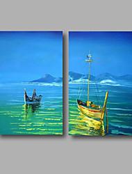 Peint à la main Paysage / Paysages AbstraitsModern Deux Panneaux Toile Peinture à l'huile Hang-peint For Décoration d'intérieur