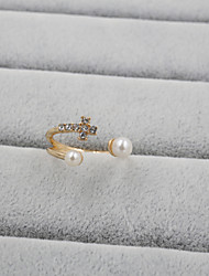 Fashion Women Stone Set Cross With Pearl Adjustable Ring
