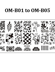 5pcs Rectangular Nail Stamping Plates Flower Lace Design Art Polish Stamp Template (OM-B01 to OM-B05)