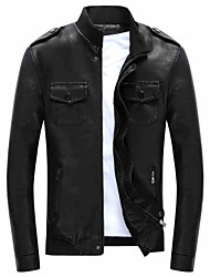 Qiu dong season leather jacket han edition cultivate one's morality short paragraph with velvet collar tide men