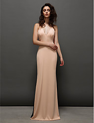 TS Couture® Formal Evening Dress Plus Size / Petite Sheath / Column V-neck Sweep / Brush Train Chiffon with