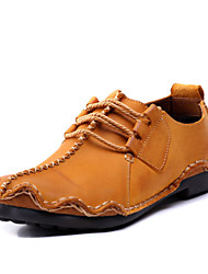 Men's Shoes Office & Career / Party & Evening / Casual Leather Oxfords Brown / Yellow / Khaki(Manual manufacture)
