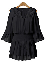 Summer Casual Plus Sizes Women's V Neck 3/4 Sleeve Elastic Waist Sexy Strapless Chiffon Dress
