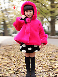 Stylish Hooded Solid Color Long Sleeve Fur Coat For Girl