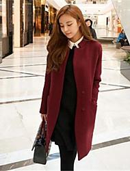 Women's Solid Red Coat , Casual Long Sleeve Tweed