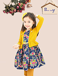 Girl's Red / Yellow Dress,Dresswear Cotton Fall