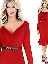 Dolce Women's Plus Size Vintage/Sexy/Bodycon/Casual/Party Long Sleeve Winter Dresses (Cotton Blend)