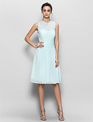 Knee-length Chiffon Bridesmaid Dress Sheath / Column with Draping / Ruching