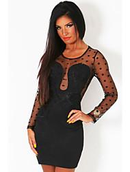 Women's Black Polka Dot Mesh Splice Bodycon Mini Dress