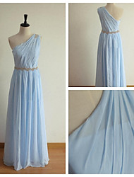 Long -length Chiffon Bridesmaid Dress - Blue A-line One Shoulder