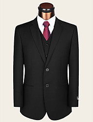 Suits Standard / Partial Fat / Obesity Fit Notch Single Breasted Two-buttons Wool / Viscose Solid 2 Pieces Black