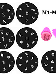 20pcs Nail Art Plates and Nail Template Stamper Scraper Kit DIY Polish Style Nail Stamp Stamping Manicure Tools (M1-M20)