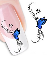 Water Transfer Printing Blue Butterfly Nail Stickers