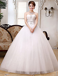 Ball Gown Wedding Dress - White Floor-length Sweetheart Lace / Satin / Tulle