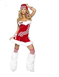 Sweet Polyester Stripe Strapless Sexy Women's Christmas Costume(Dress+Hat+Legwear)