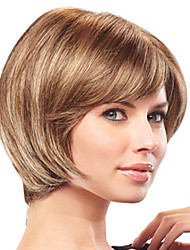 Unique Short Straight Human Virgin Remy Hair Hand Tied -Top Capless Woman's Wig