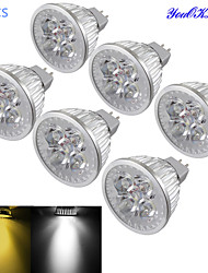 YouOKLight® 6PCS MR16 4W Dimmable 4-LED Spotlight Warm White/Cold White Light 3000/6000k 320-350lm (DC 12V)