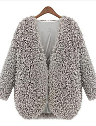 Women New Popular Round Long Sleeve Lamb Fur Outerwear