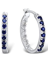 argento sterling moda femminile set con zaffiro creare e creare bianchi orecchini clip zaffiro