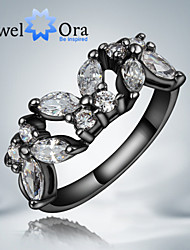 "New Popular Noble Luxurious White Butterfly CZ Stone ""Black Gold"" Plated Band Ring For Woman&Lady"