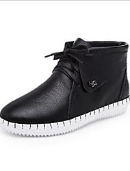 Scarpe Donna - Sneakers alla moda - Tempo libero - Comoda / Punta arrotondata - Piatto - Finta pelle - Nero / Marrone / Bianco