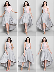 Lanting Mix&Match Asymmetrical Jersey Bridesmaid Dress - Multi-color A-line V-neck