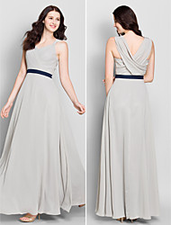 Lanting Bride® Ankle-length Chiffon Bridesmaid Dress A-line V-neck with Criss Cross