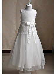 A-line Tea-length Flower Girl Dress - Lace / Satin / Tulle Sleeveless Jewel with