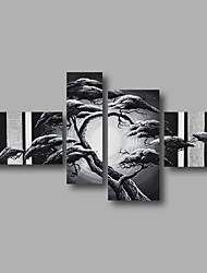 Ready to Hang Stretched Hand-Painted Oil Painting Canvas Wall Art Trees Forest Black White Modern Four Panels