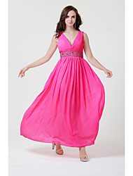 Floor-length Chiffon Bridesmaid Dress - Burgundy / Royal Blue / Ivory / Silver / Black / Candy Pink A-line V-neck