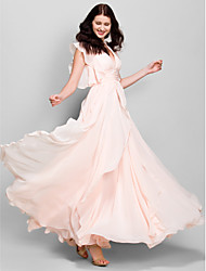 Lanting Bride® Ankle-length Chiffon Bridesmaid Dress - A-line V-neck with Cascading Ruffles