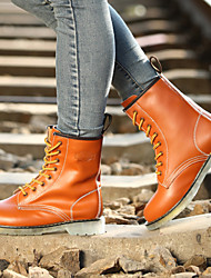 Women's Shoes Leather Flat Heel Riding Boots / Motorcycle Boots Boots Outdoor / Athletic / Casual Black / Brown