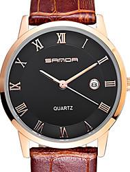 sanda 3 d ultra-dünne Zifferblatt, Seiko Quarzwerk, hohe Härte, Spiegel, Lederarmband Uhrengeschäft
