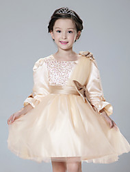 Girl's Vogue  Cotton Blend / Satin Winter / Fall  One-Shoulder Gauze  Bead  Flower Girl Dress Dress