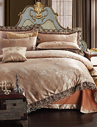 Simple Opulence Modal Cotton Jacquard Quilt King Queen Duvet Cover Set with 1 Flat sheet and 2 Pillowcases