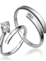 Ring Wedding / Party / Daily / Casual Jewelry Sterling Silver Couples Couple Rings 2pcs,Adjustable Silver