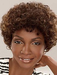 Fashion African Short Hair Curly Brown Color Synthetic Wigs