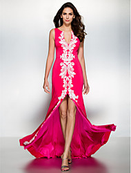 Formal Evening Dress - Fuchsia Trumpet/Mermaid V-neck Sweep/Brush Train Jersey