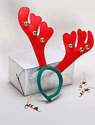 Red Dear Horn with Bells Christmas Headpiece