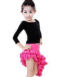 Latin Dance Outfits Children's Performance Spandex / Polyester / Milk Fiber Ruffles 2 Pieces Fuchsia / Red / Lake Blue Latin Dance / Samba
