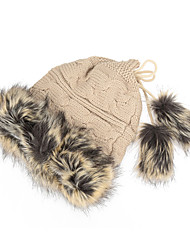 Women Knitted Beanie Faux Fur Drawstring Top Dual Use Hat Scarf Winter Thicken Cap